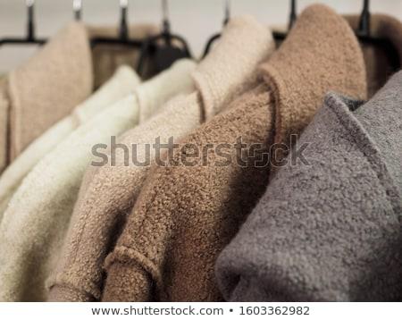 Wol jas vrouw zak shirt witte Stockfoto © mtoome