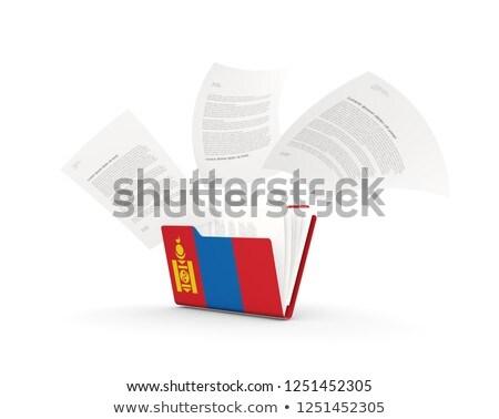 Mappa zászló Mongólia akták izolált fehér Stock fotó © MikhailMishchenko