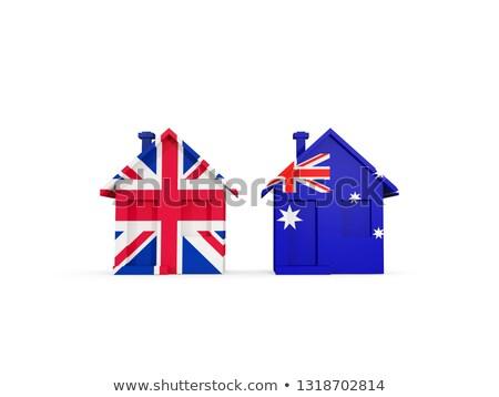 Foto stock: Dos · casas · banderas · Reino · Unido · Australia · aislado
