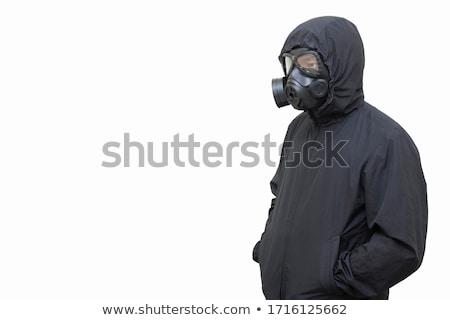 gas masked men in demolished environment stockfoto © ra2studio