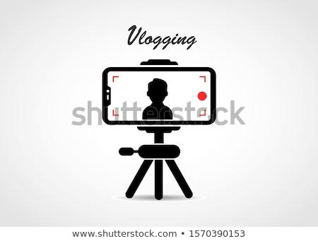 Cartoon blogger streaming online buitenshuis mannelijke Stockfoto © RAStudio
