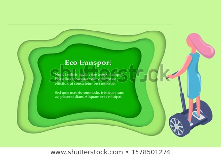 Eco Transport, Girl Ride on Gyro Scooter Back View Stock photo © robuart