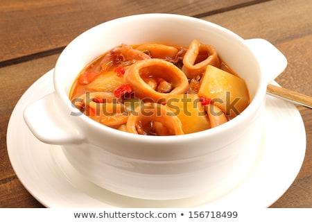 Krumpli tintahal pörkölt friss mártás étel Stock fotó © trexec