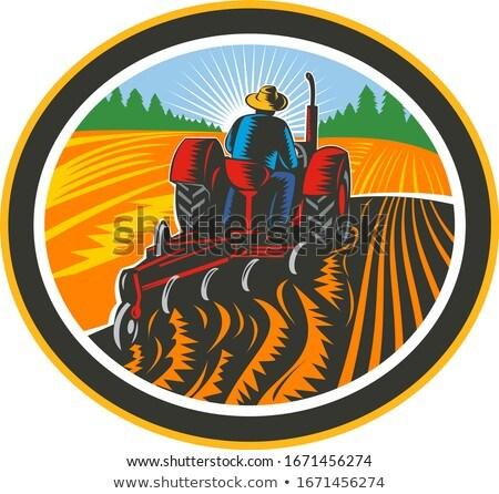 農家 運転 トラクター フィールド サークル レトロな ストックフォト © patrimonio