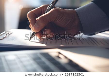 Unterzeichnung Business Vertrag Dokument Papier Rechtsanwalt Stock foto © AndreyPopov