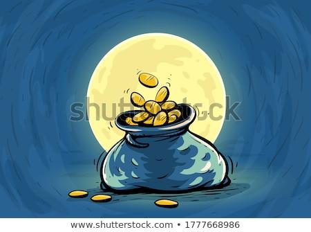 Saco completo moedas roxo negócio saco Foto stock © AndreyKr