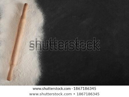 Fából készült sodrófa fehér otthon háttér konyha Stock fotó © jirkaejc