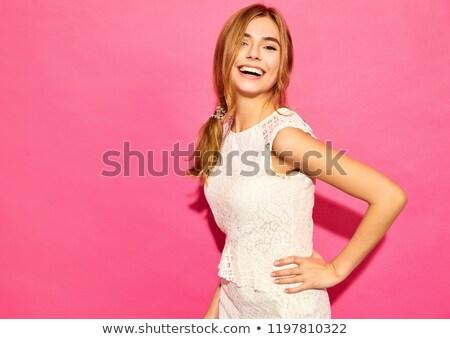 Mooie jong meisje chic haren geïsoleerd gezicht Stockfoto © OleksandrO