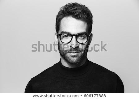 polis · portre · dostça · gülme · siyah - stok fotoğraf © andriy-solovyov