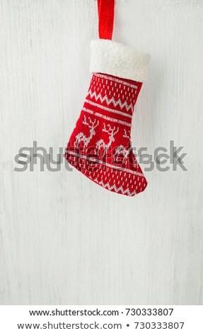 Red Christmas Ornaments on Soft Fur - Vertical Vintage Stock photo © frannyanne