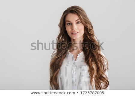 sedutor · mulher · jovem · lábios · vermelhos · em · pé · posando - foto stock © photosebia