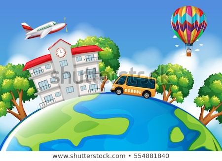 Schoolbus and building on earth Stock photo © bluering