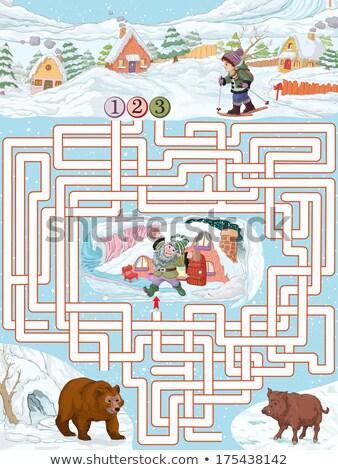 Confondre cartoon skieur illustration ski homme Photo stock © cthoman