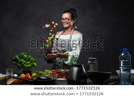 フルーツ · スムージー · 成熟した女性 · オレンジ - ストックフォト © yuliyagontar