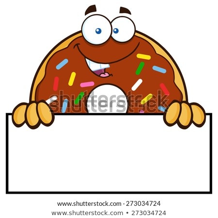 donut cartoon character with sprinkles over a sign stock photo © hittoon