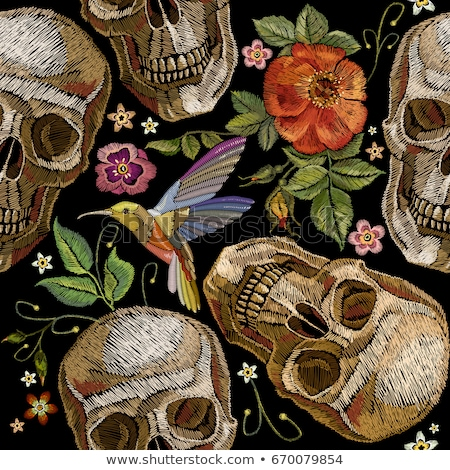 Embroidery flower skull for fashion textile and fabric. Vector vintage floral ornament on dark backg Stock photo © sanyal