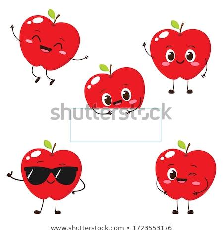 Mela cartoon kawaii carattere frutta Foto d'archivio © barsrsind