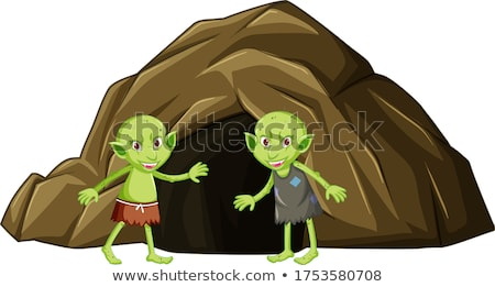 Goblins with cave in cartoon character on white background Stock photo © bluering