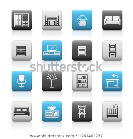 Meubels iconen mat vector web media Stockfoto © Palsur