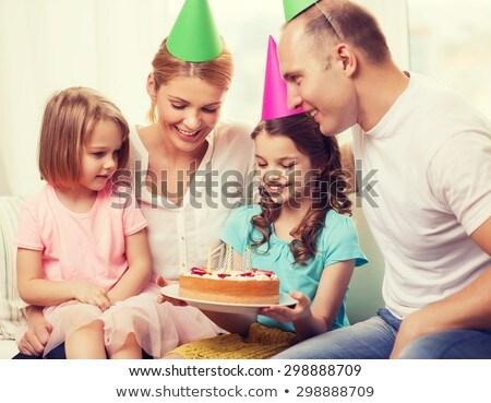 Bom menina festa seis bolo de aniversário casa Foto stock © dolgachov