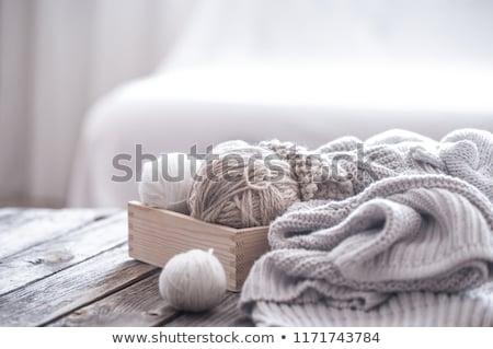 Stok fotoğraf: Yün · beyaz · siyah · yalıtılmış · dizayn