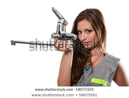 smiling girl plumber in dungarees stock photo © photography33