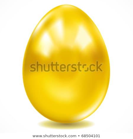 altın · easter · egg · beyaz · yumurta · parıltı · vektör - stok fotoğraf © blotty