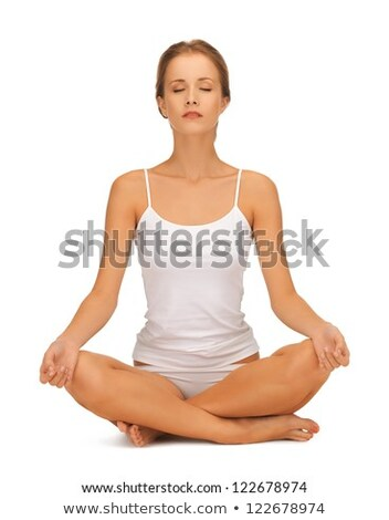 woman in undrewear practicing yoga lotus pose Stock photo © dolgachov