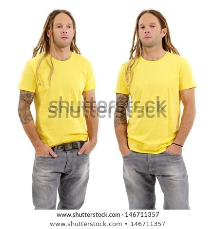 Male with blank yellow shirt and dreadlocks Stock photo © sumners