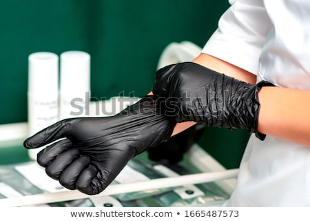 Negro látex alto esbelto mujer nina Foto stock © disorderly