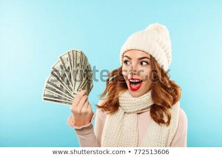 jonge · glimlachend · sexy · vrouw · Rood - stockfoto © hasloo