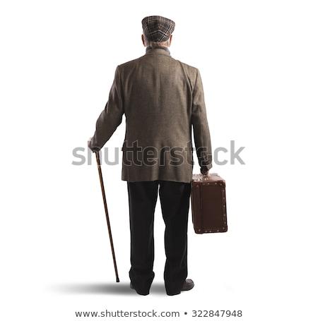 Adam eski bavul bağbozumu kullanılmış yürüyüş Stok fotoğraf © compuinfoto