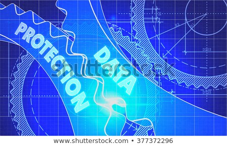 Stock photo: Online Security Concept. Blueprint of Gears.