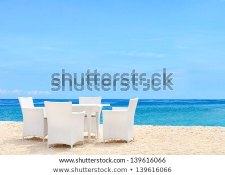 rest on coast table and chairs on beach clear summer day stock photo © paha_l