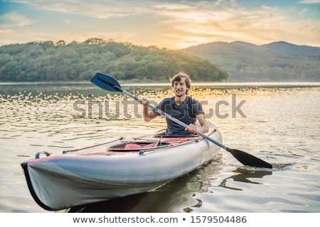 Férfi kajakozás folyó illusztráció sport háttér Stock fotó © bluering