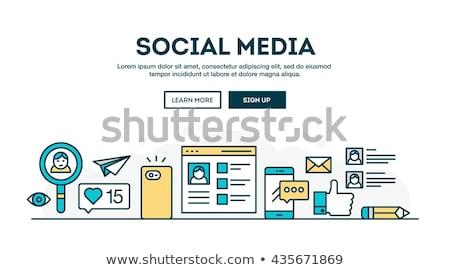 красочный линейный иллюстрация социальной сетей Сток-фото © ConceptCafe