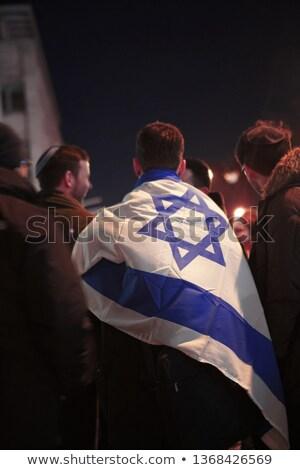 Man vlag Israël menigte 3d illustration teken Stockfoto © MikhailMishchenko