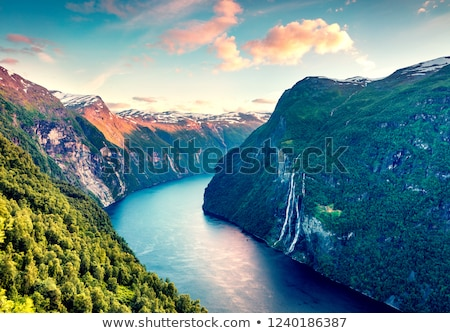 Summer landscape with fjord and waterfall, Norway Stock photo © Kotenko