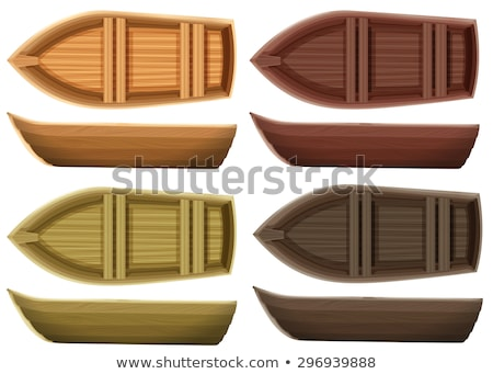 木製 · ボート · 側面図 · 孤立した · 白 · 水 - ストックフォト © konturvid