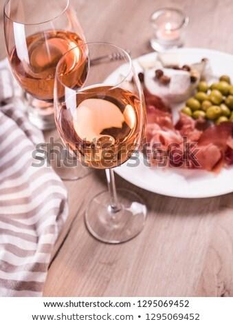 Photo stock: Fromages · plaque · variété · verres · à · vin · grunge · gris