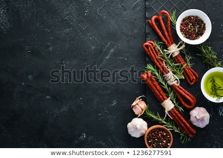 Kabanosy sausages on the wooden background Stock photo © Alex9500
