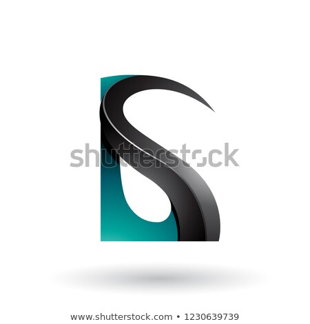 persian green and black glossy curvy embossed letter g vector il stock photo © cidepix