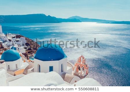 Fehér Santorini sziget Görögország templom tenger Stock fotó © neirfy
