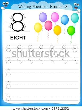 Foto stock: Escrita · número · oito · ilustração · mão · fundo