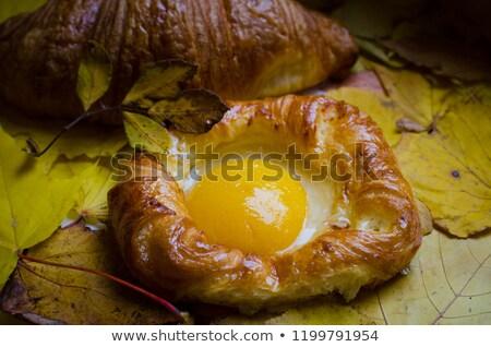 Stockfoto: Gebak · perziken · houten · tafel · voedsel · groep