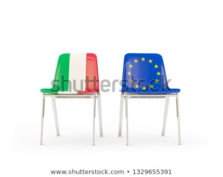 Two chairs with flags of Italy and european union Stock photo © MikhailMishchenko