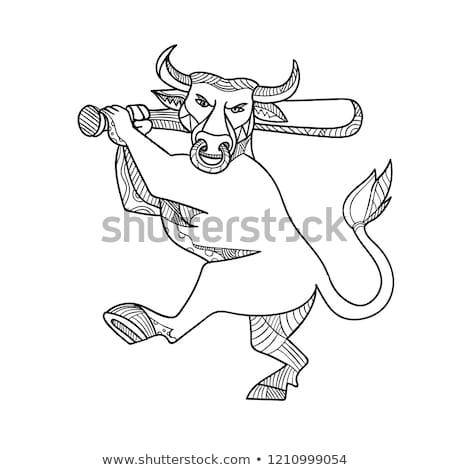 Bull Baseball Bat Mono Line Stock photo © patrimonio