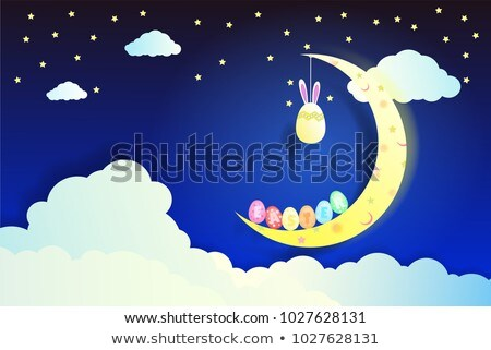 cartoon paper night landscape moon star cloud flower stock photo © rwgusev