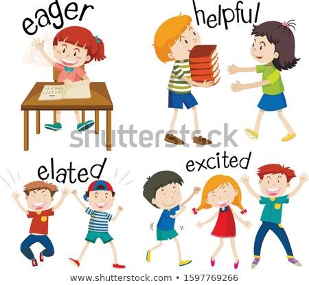 Set bambini sentimenti parole illustrazione Foto d'archivio © bluering