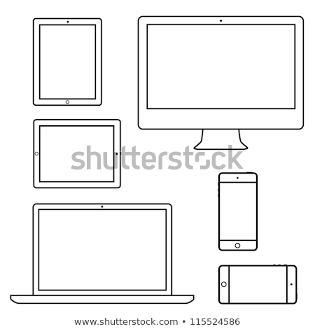 Cellular Telephone Symbol Icon Vector Outline Illustration Stock photo © pikepicture